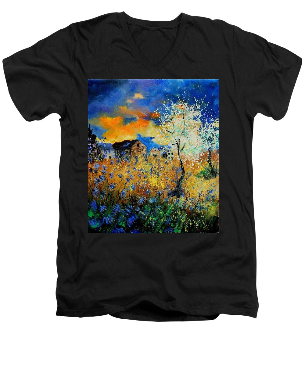 Poppies Men's V-Neck T-Shirt featuring the painting Blooming Trees by Pol Ledent