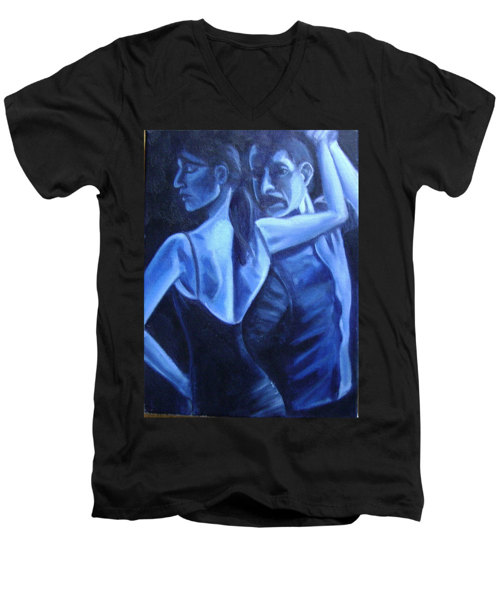 Men's V-Neck T-Shirt featuring the painting Bludance by Toni Berry