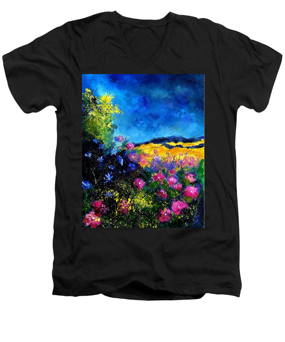 Landscape Men's V-Neck T-Shirt featuring the painting Blue And Pink Flowers by Pol Ledent