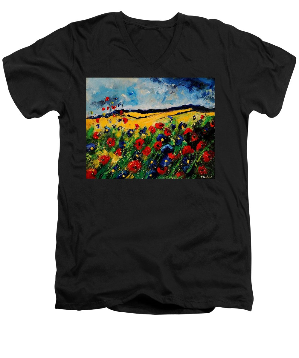 Poppies Men's V-Neck T-Shirt featuring the painting Blue And Red Poppies 45 by Pol Ledent