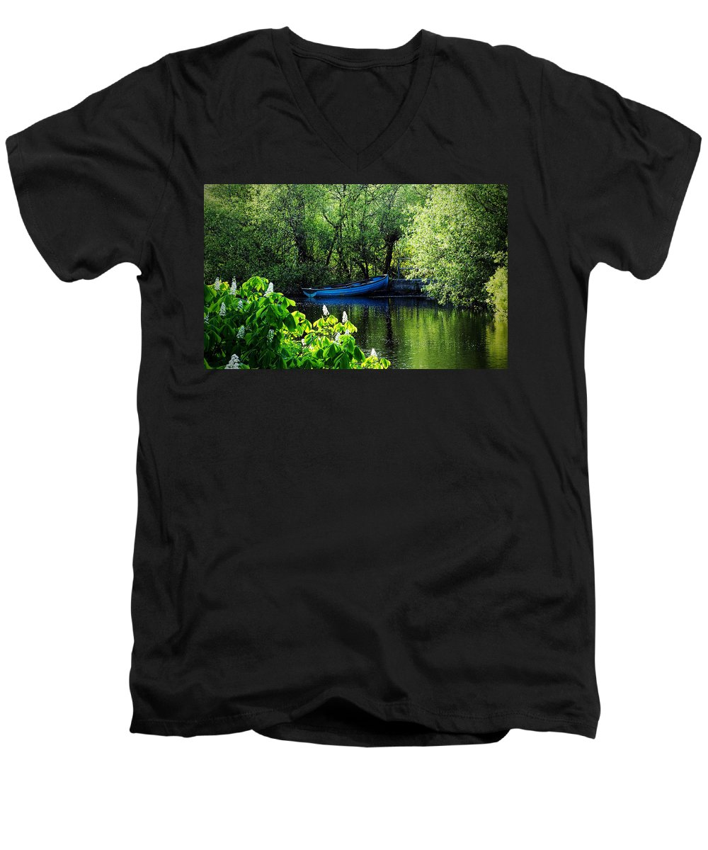 Irish Men's V-Neck T-Shirt featuring the photograph Blue Boat Cong Ireland by Teresa Mucha