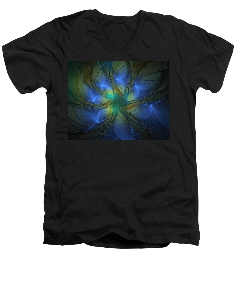 Digital Art Men's V-Neck T-Shirt featuring the digital art Blue Butterflies by Amanda Moore