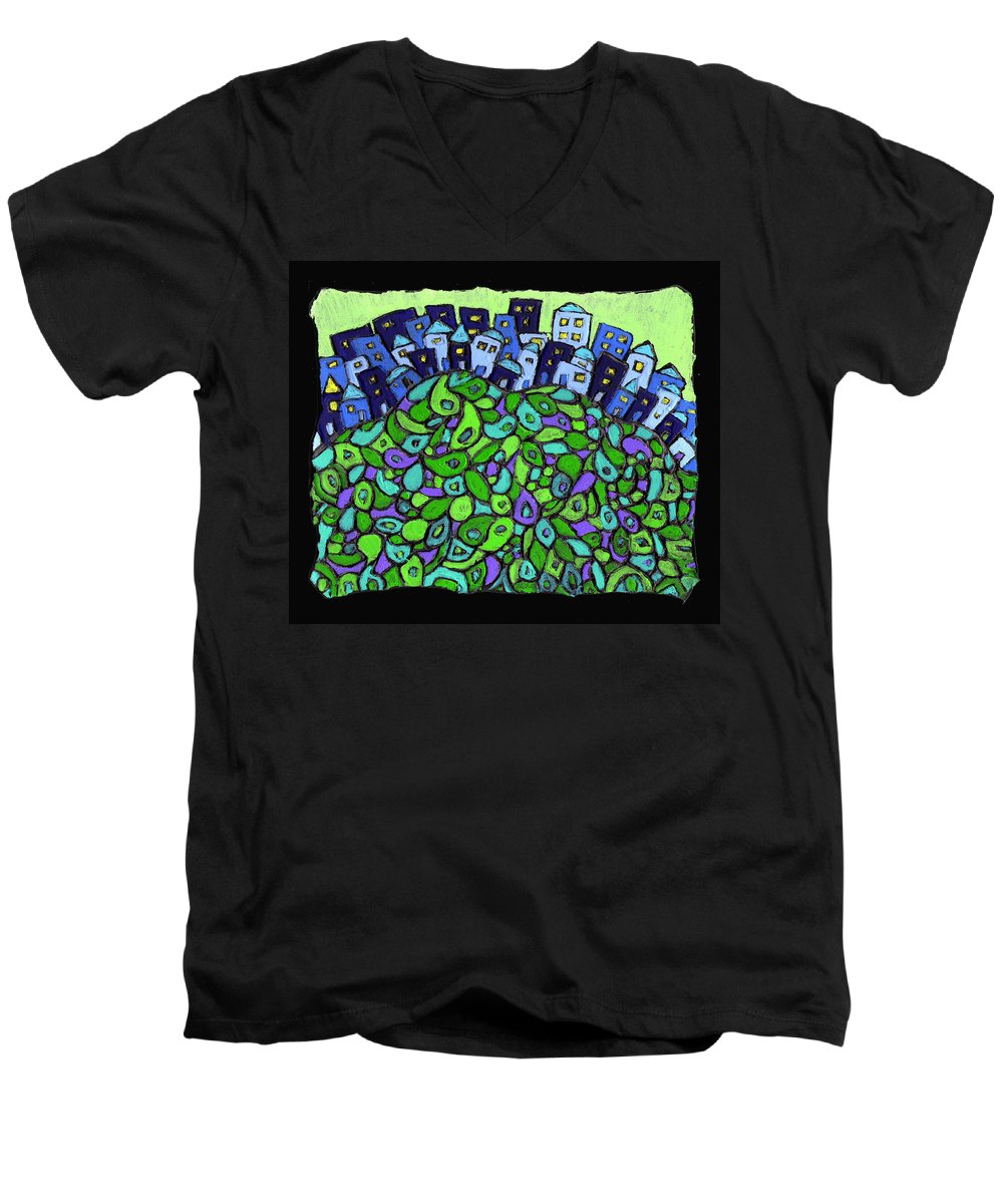City Men's V-Neck T-Shirt featuring the painting Blue City On A Hill by Wayne Potrafka