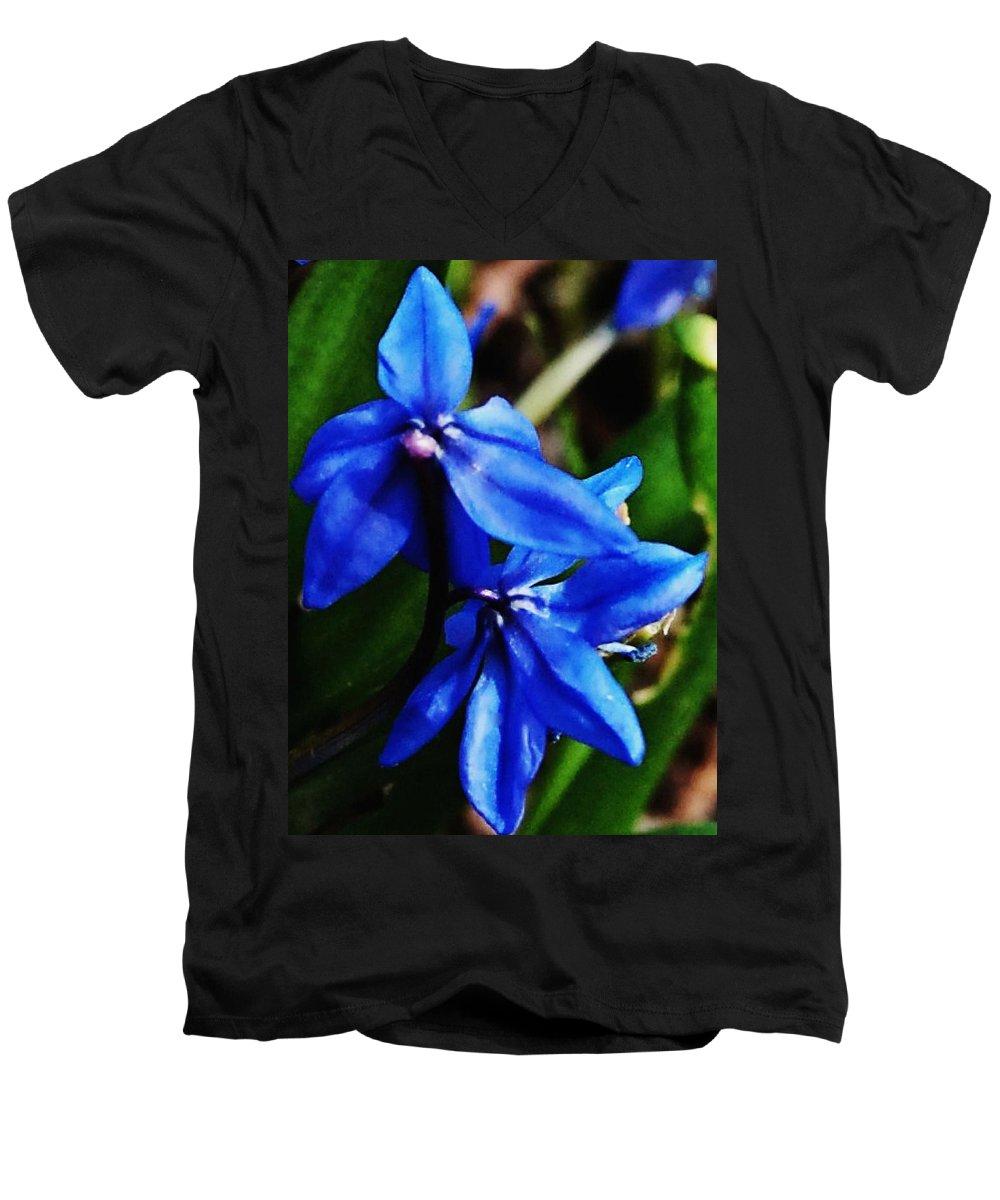 Digital Photo Men's V-Neck T-Shirt featuring the photograph Blue Floral by David Lane