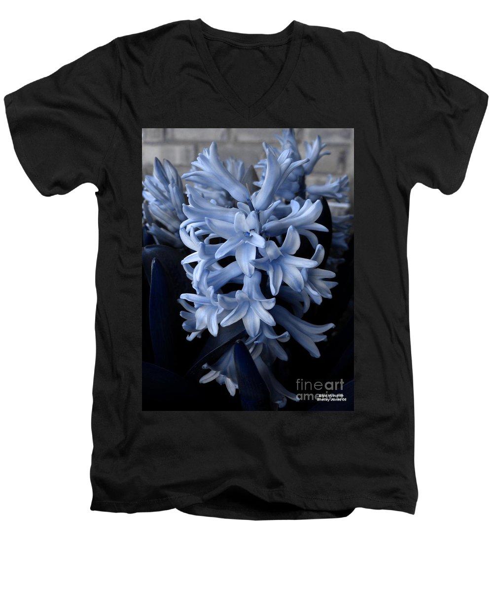 Blue Men's V-Neck T-Shirt featuring the photograph Blue Hyacinth by Shelley Jones