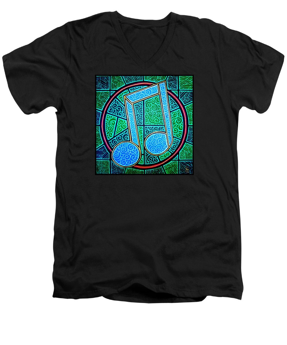 Music Men's V-Neck T-Shirt featuring the painting Blue Note by Jim Harris