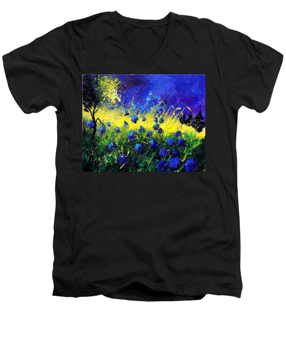 Flowers Men's V-Neck T-Shirt featuring the painting Blue Poppies by Pol Ledent