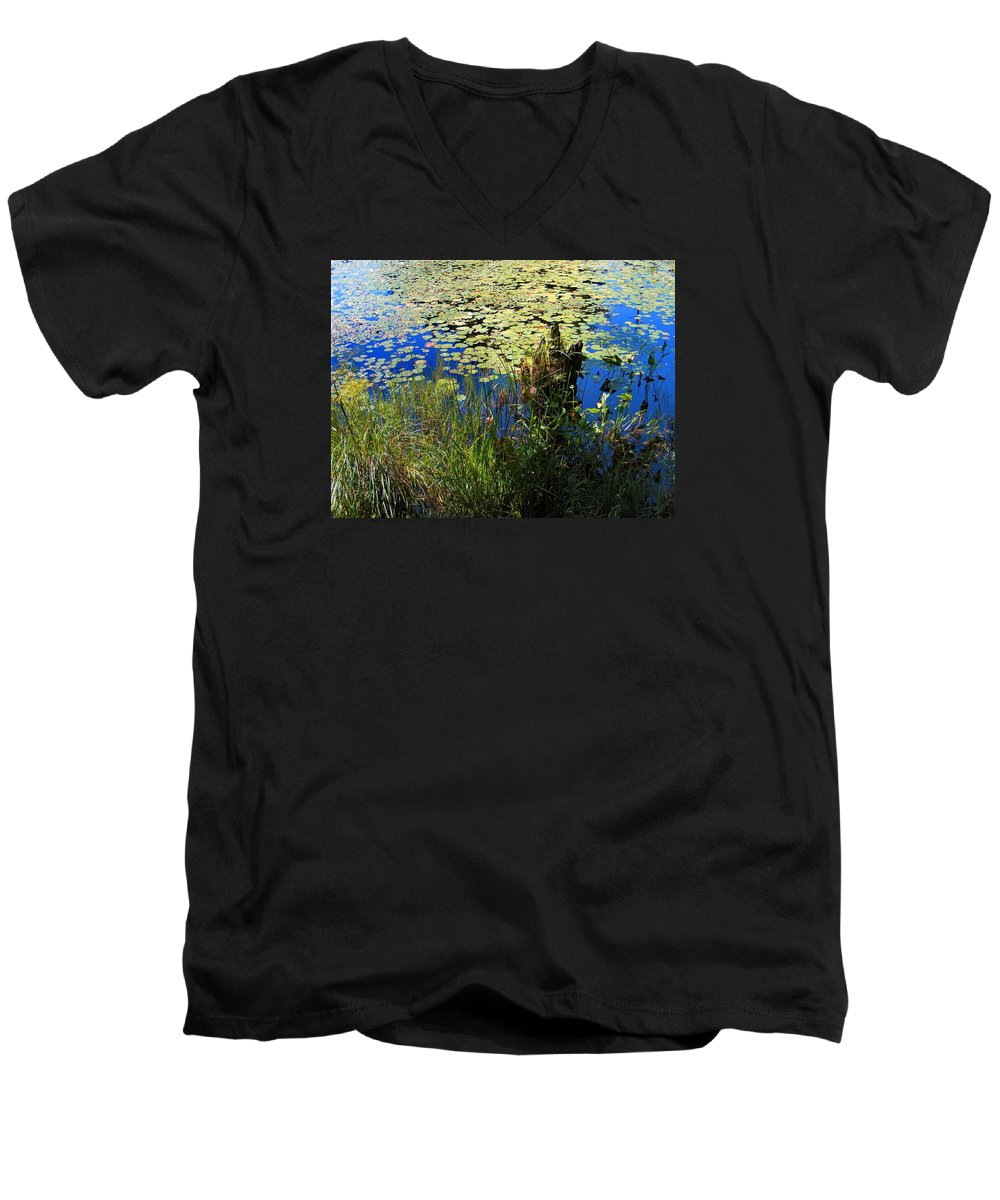 Pond Men's V-Neck T-Shirt featuring the photograph Blue Sky Pond by Dave Martsolf