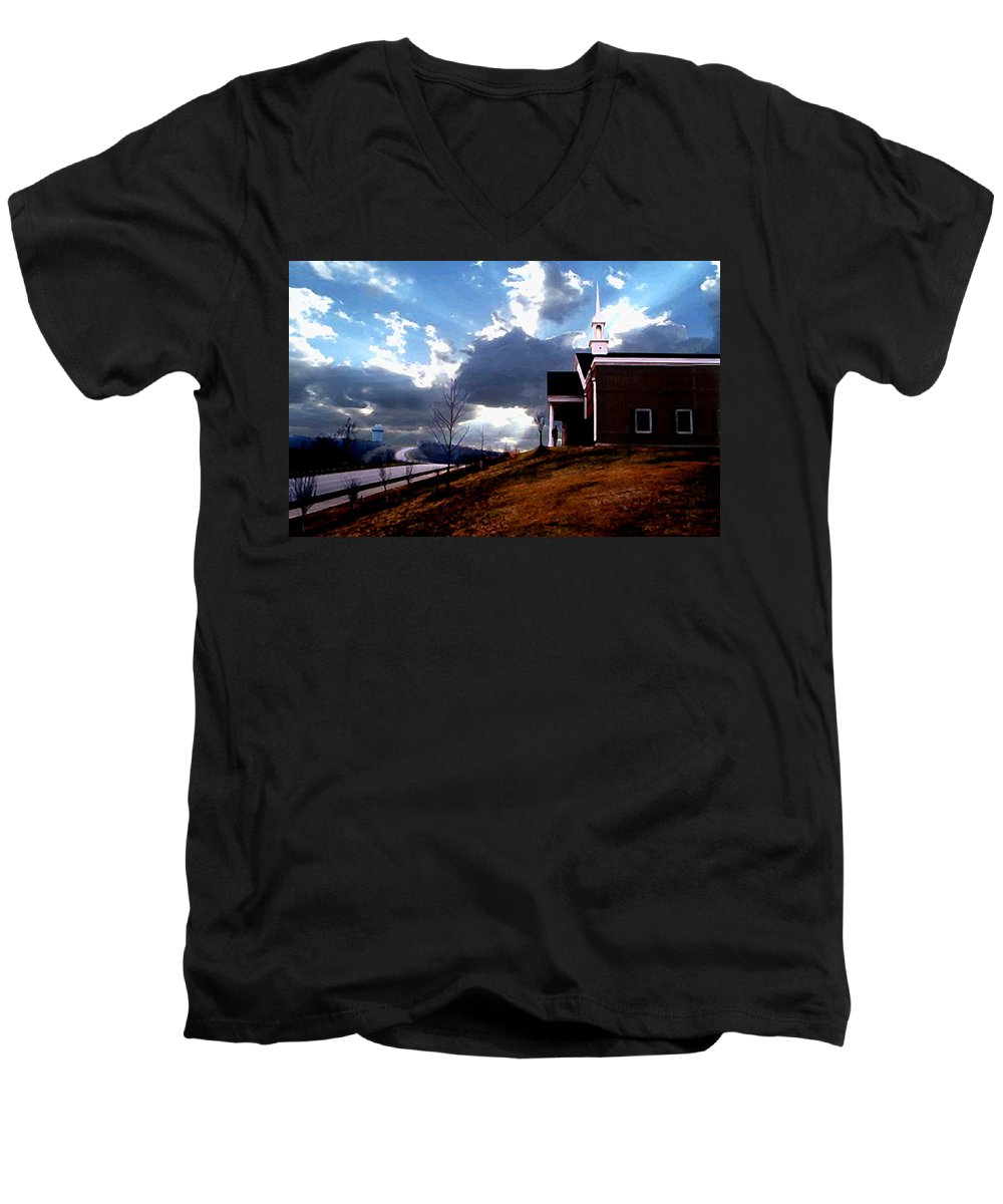Landscape Men's V-Neck T-Shirt featuring the photograph Blue Springs Landscape by Steve Karol