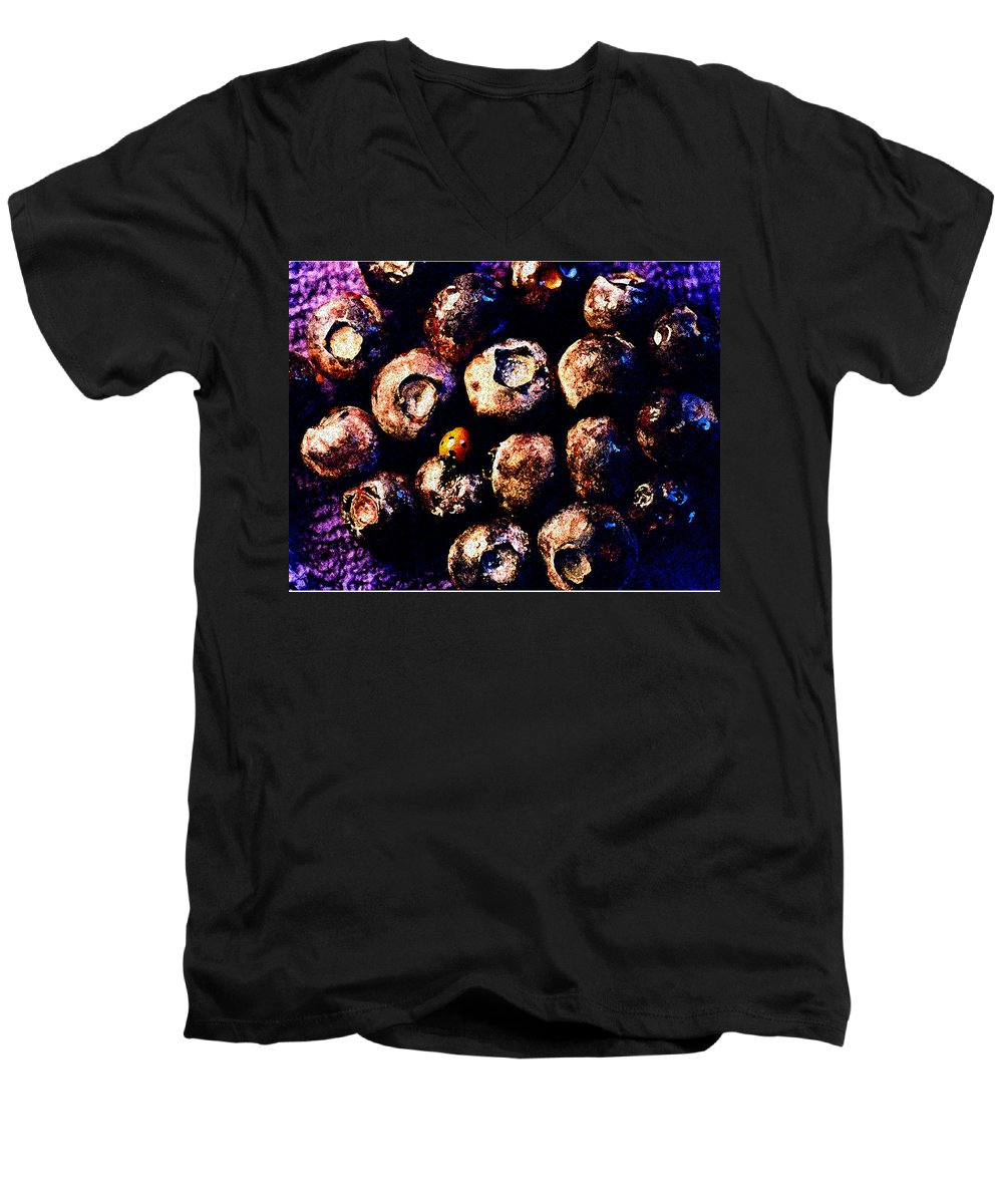 Blueberries Men's V-Neck T-Shirt featuring the photograph Blueberries And Ladybug by Nancy Mueller