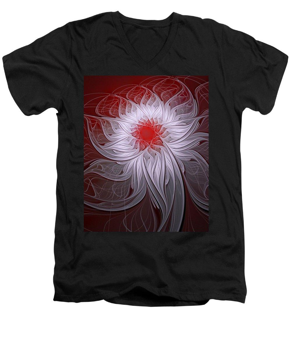 Digital Art Men's V-Neck T-Shirt featuring the digital art Blush by Amanda Moore