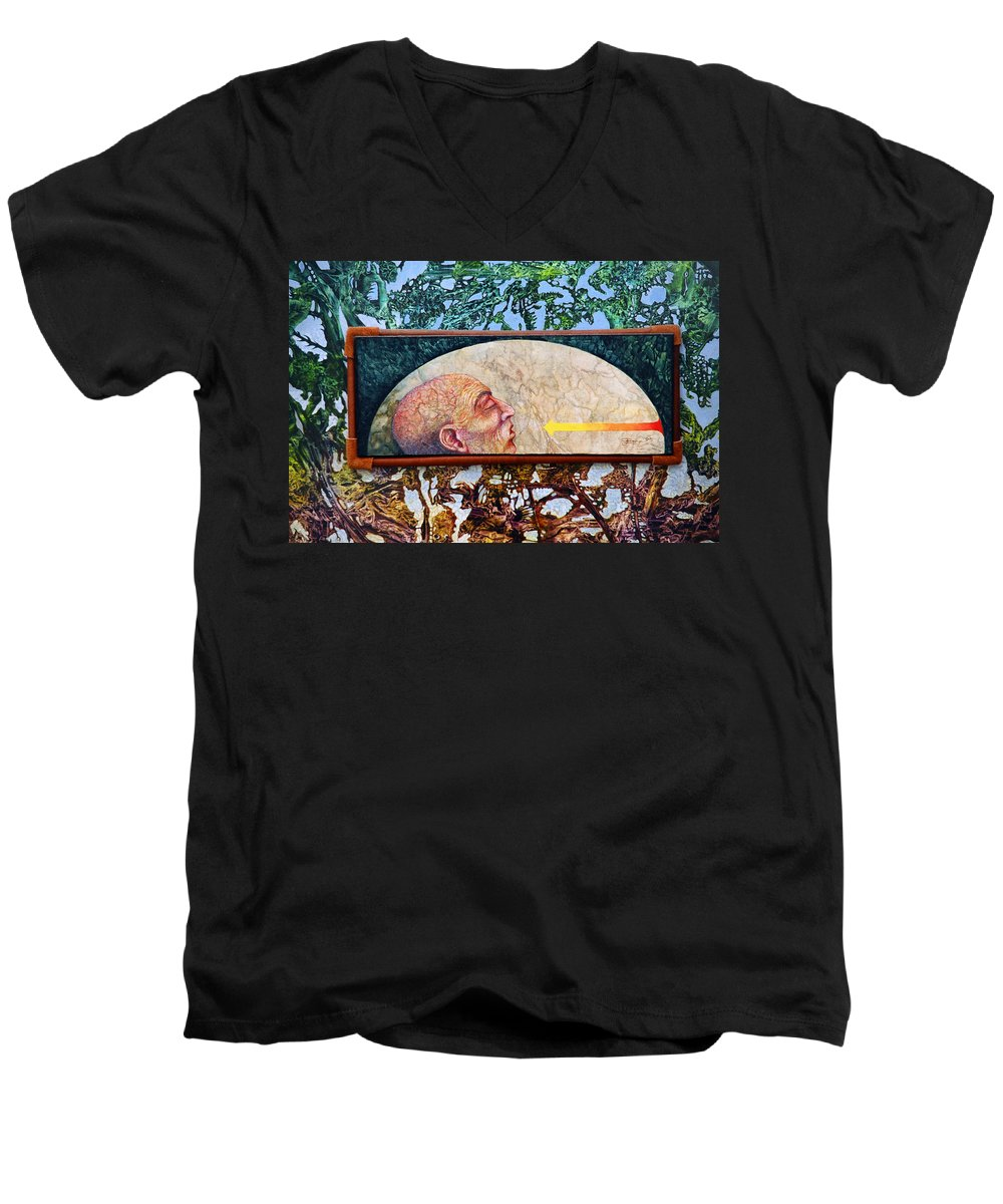 Surrealism Fantasy Fantastic Realism Decalcomania Otto Rapp The Mystic Men's V-Neck T-Shirt featuring the painting Bogomil Rising by Otto Rapp