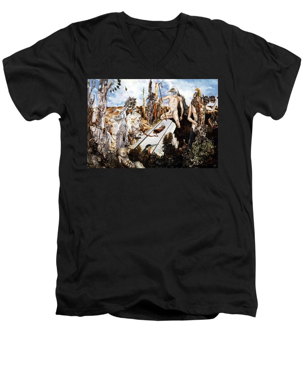 Surrealism Men's V-Neck T-Shirt featuring the painting Bogomils Court by Otto Rapp