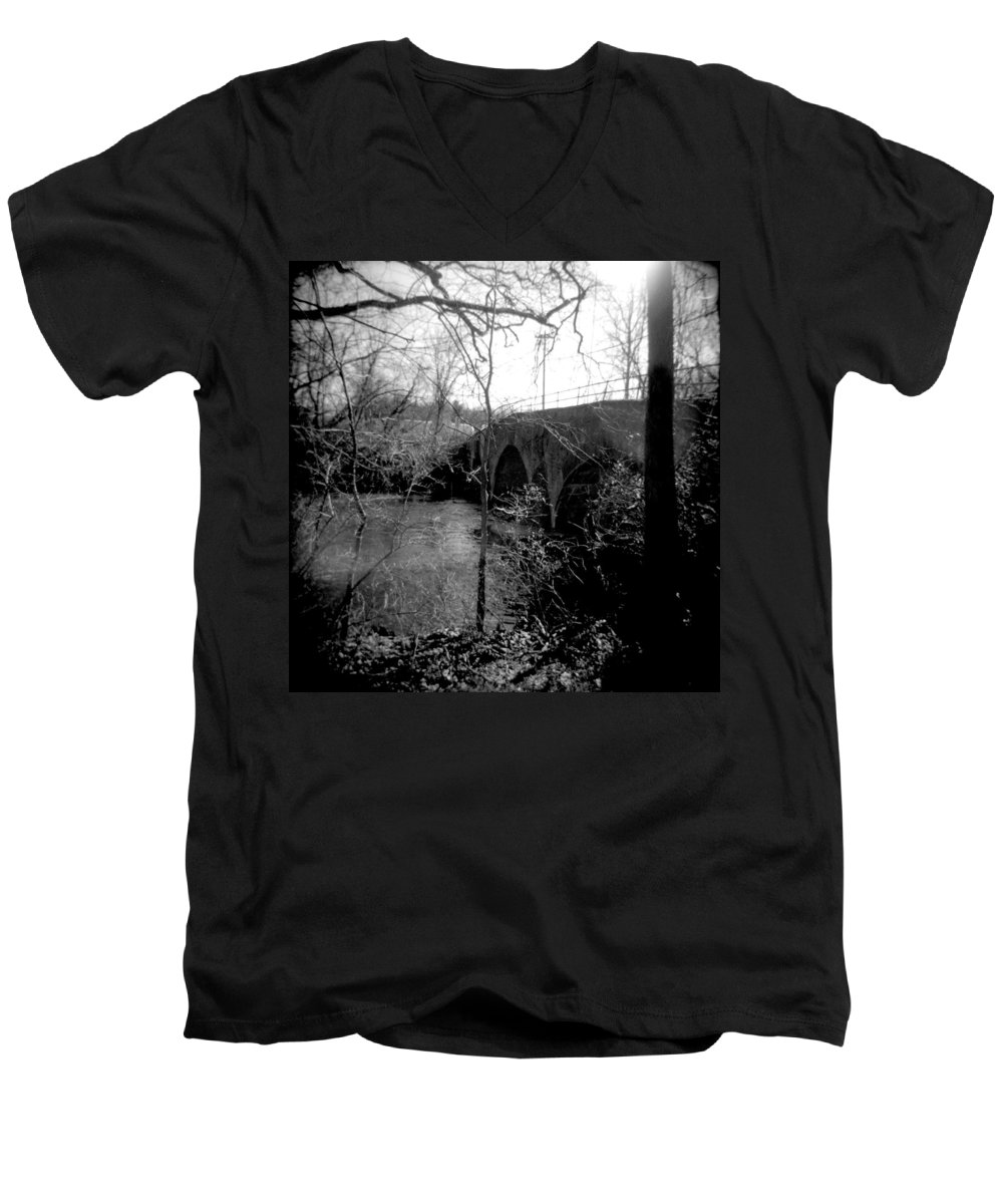 Photograph Men's V-Neck T-Shirt featuring the photograph Boiling Springs Bridge by Jean Macaluso