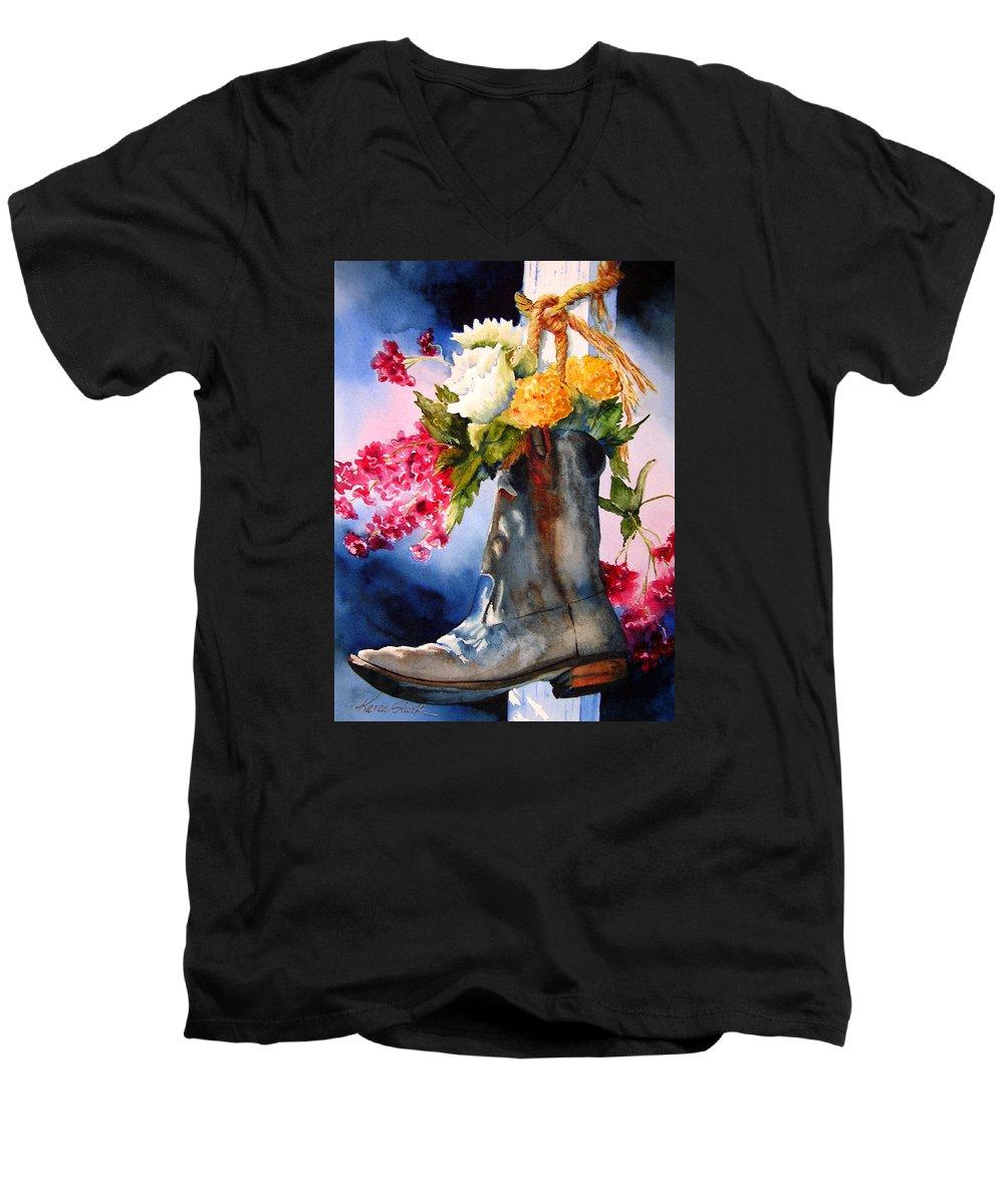 Cowboy Men's V-Neck T-Shirt featuring the painting Boot Bouquet by Karen Stark