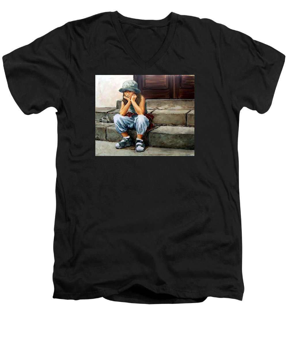 Figurative Little Girl Portrait Realism Child Kid Men's V-Neck T-Shirt featuring the painting Bored by Natalia Tejera