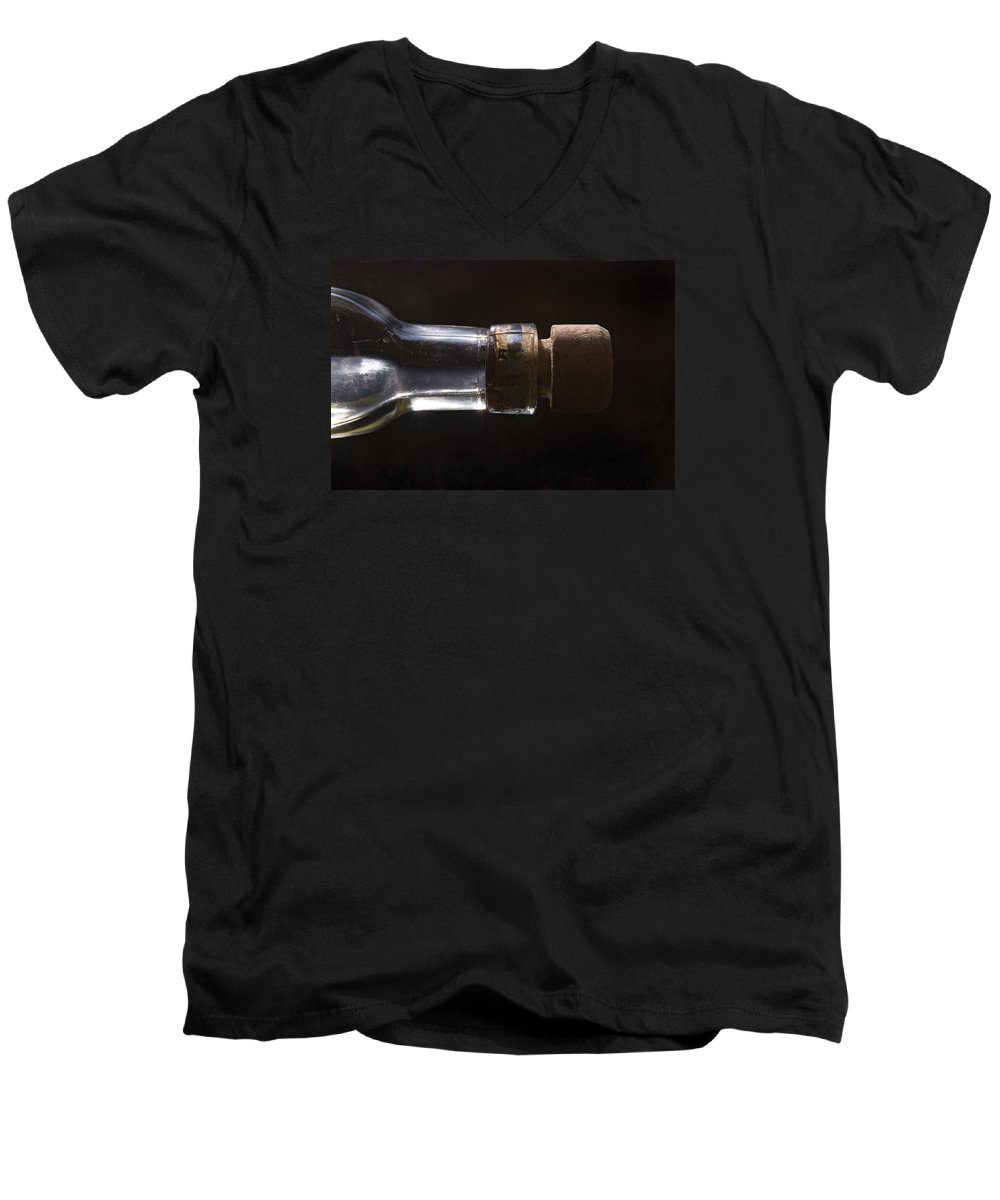 Cork Men's V-Neck T-Shirt featuring the photograph Bottle And Cork-1 by Steve Somerville