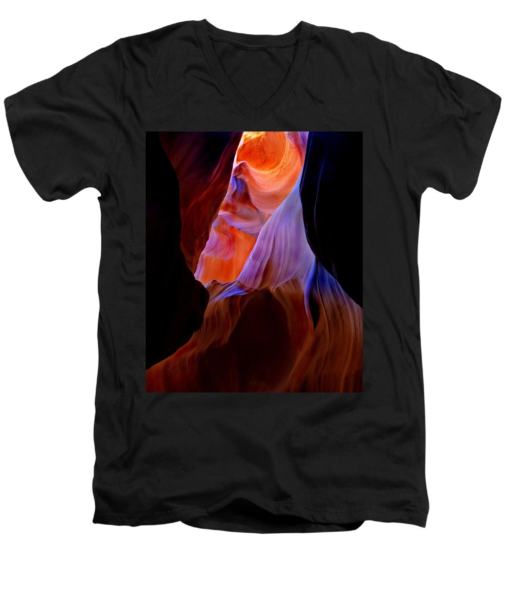 Canyon Men's V-Neck T-Shirt featuring the photograph Bottled Light by Mike Dawson