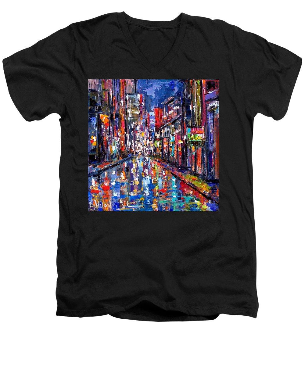 New Orleans Men's V-Neck T-Shirt featuring the painting Bourbon Street by Debra Hurd