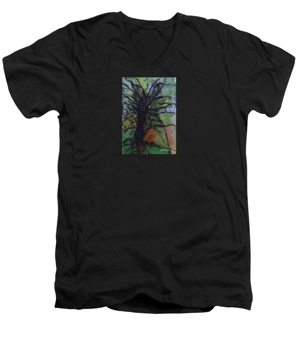 Tree Landscape Abstract Watercolor Original Blue Green Men's V-Neck T-Shirt featuring the painting Branching by Leila Atkinson