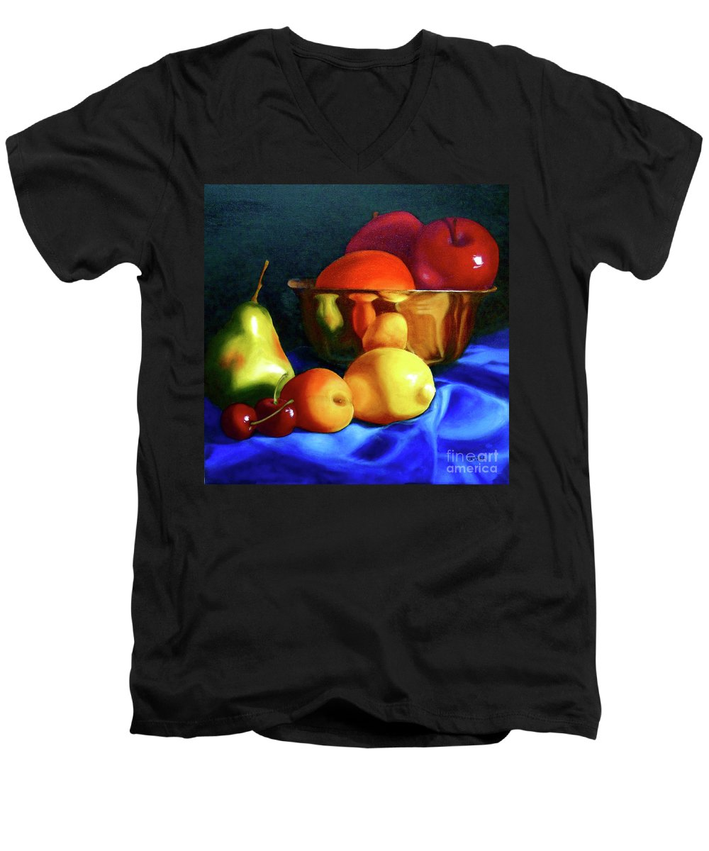 Still Llife Men's V-Neck T-Shirt featuring the painting Brass Ensemble by Susan A Becker