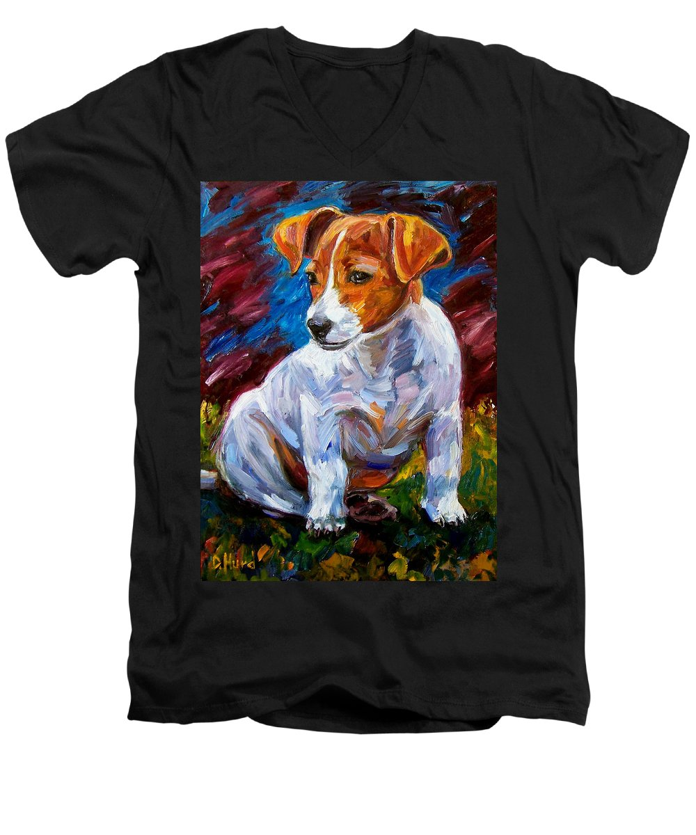 Dog Art Men's V-Neck T-Shirt featuring the painting Break Time by Debra Hurd
