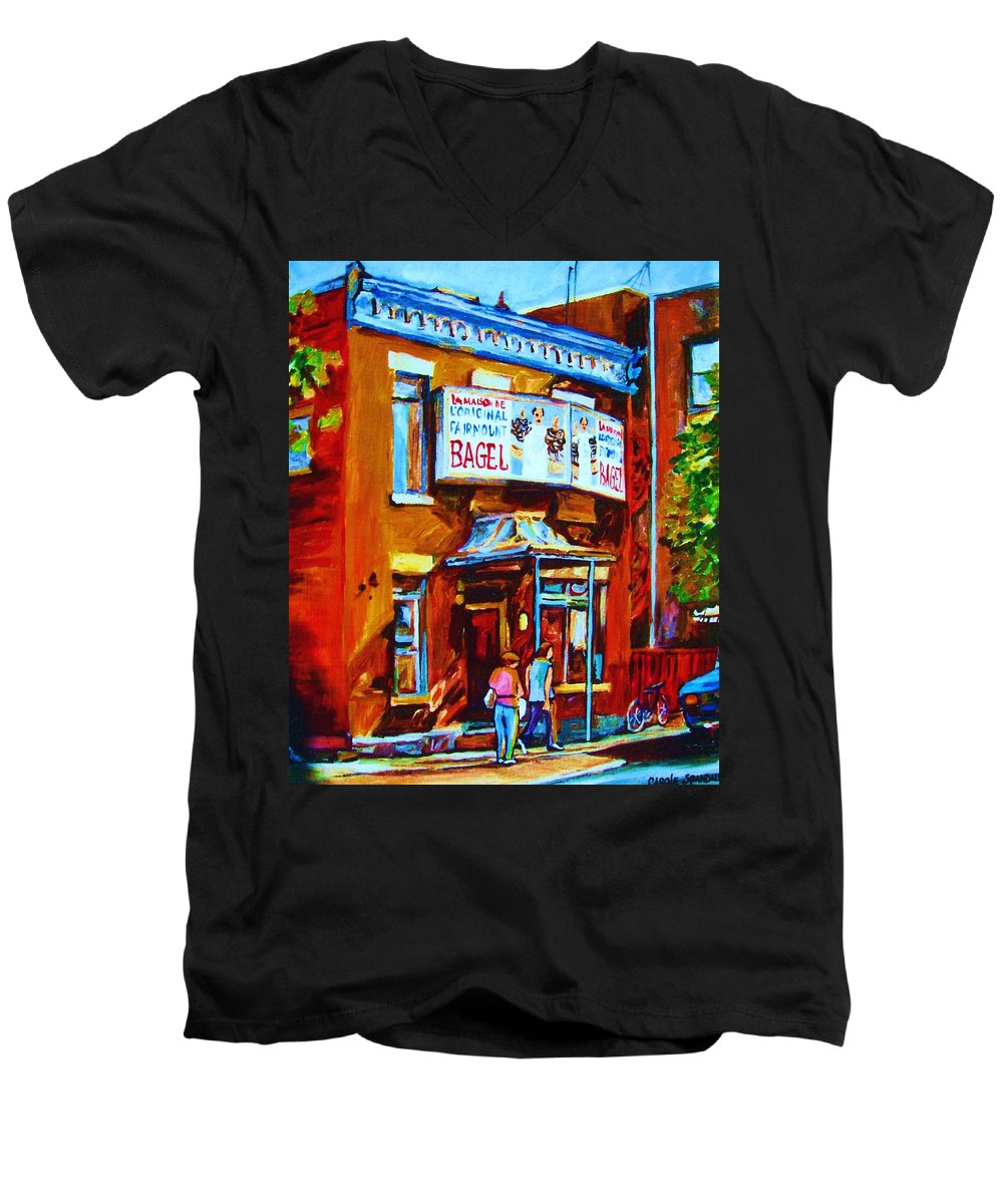 Fairmount Bagel Men's V-Neck T-Shirt featuring the painting Breakfast At The Bagel Cafe by Carole Spandau