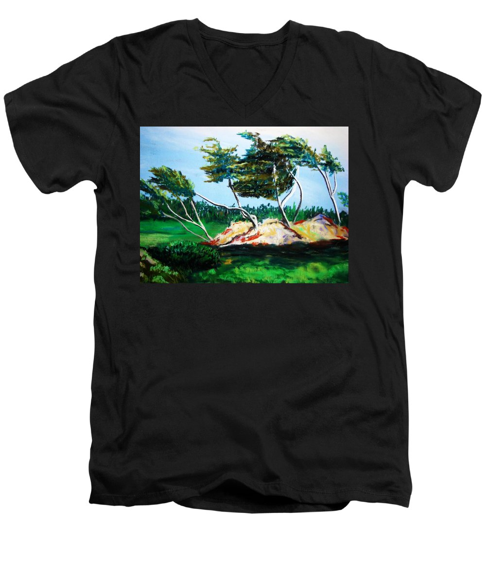 California Men's V-Neck T-Shirt featuring the painting Breezy by Melinda Etzold