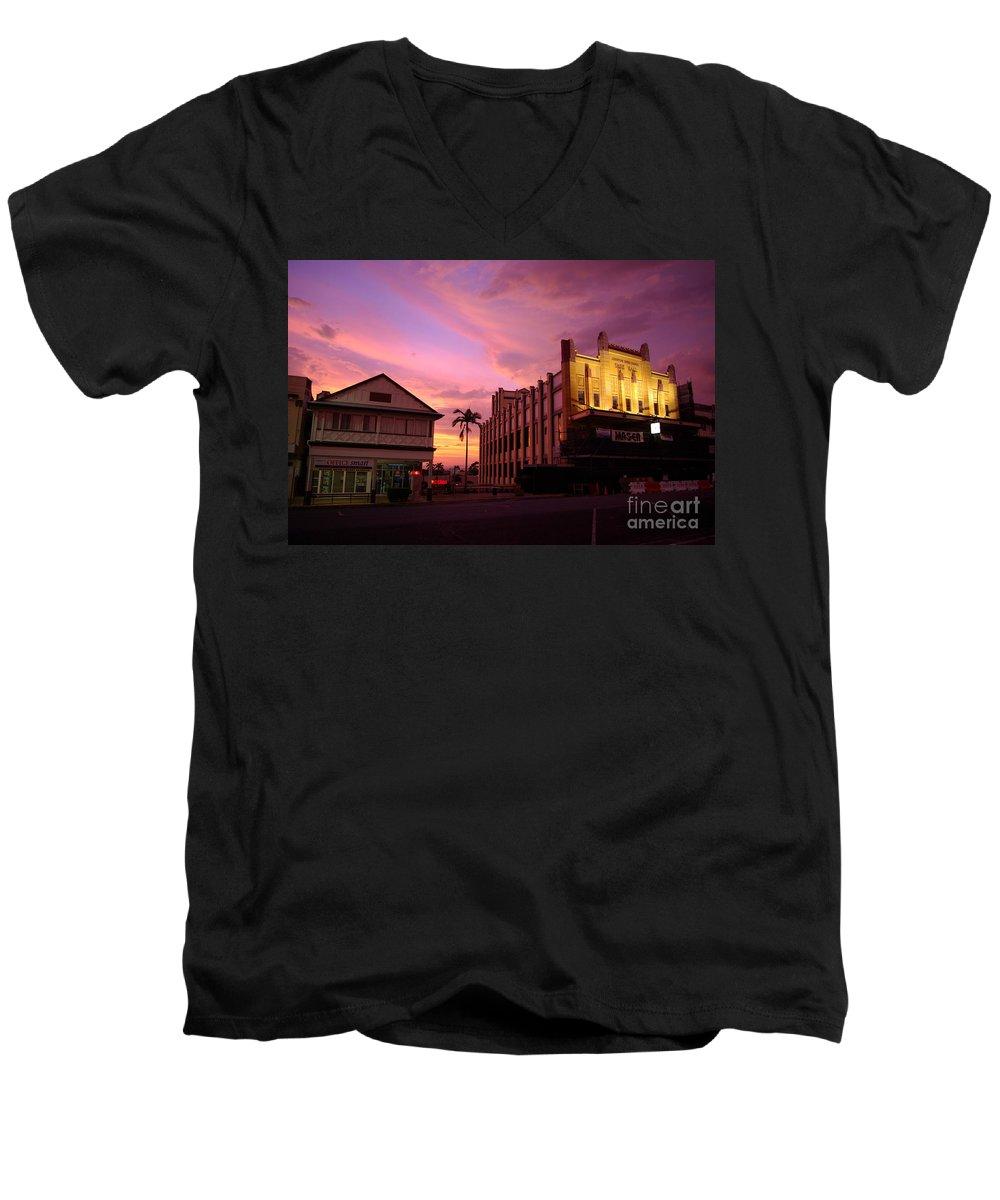 Evening Men's V-Neck T-Shirt featuring the photograph Brewing Storm by Kerryn Madsen- Pietsch