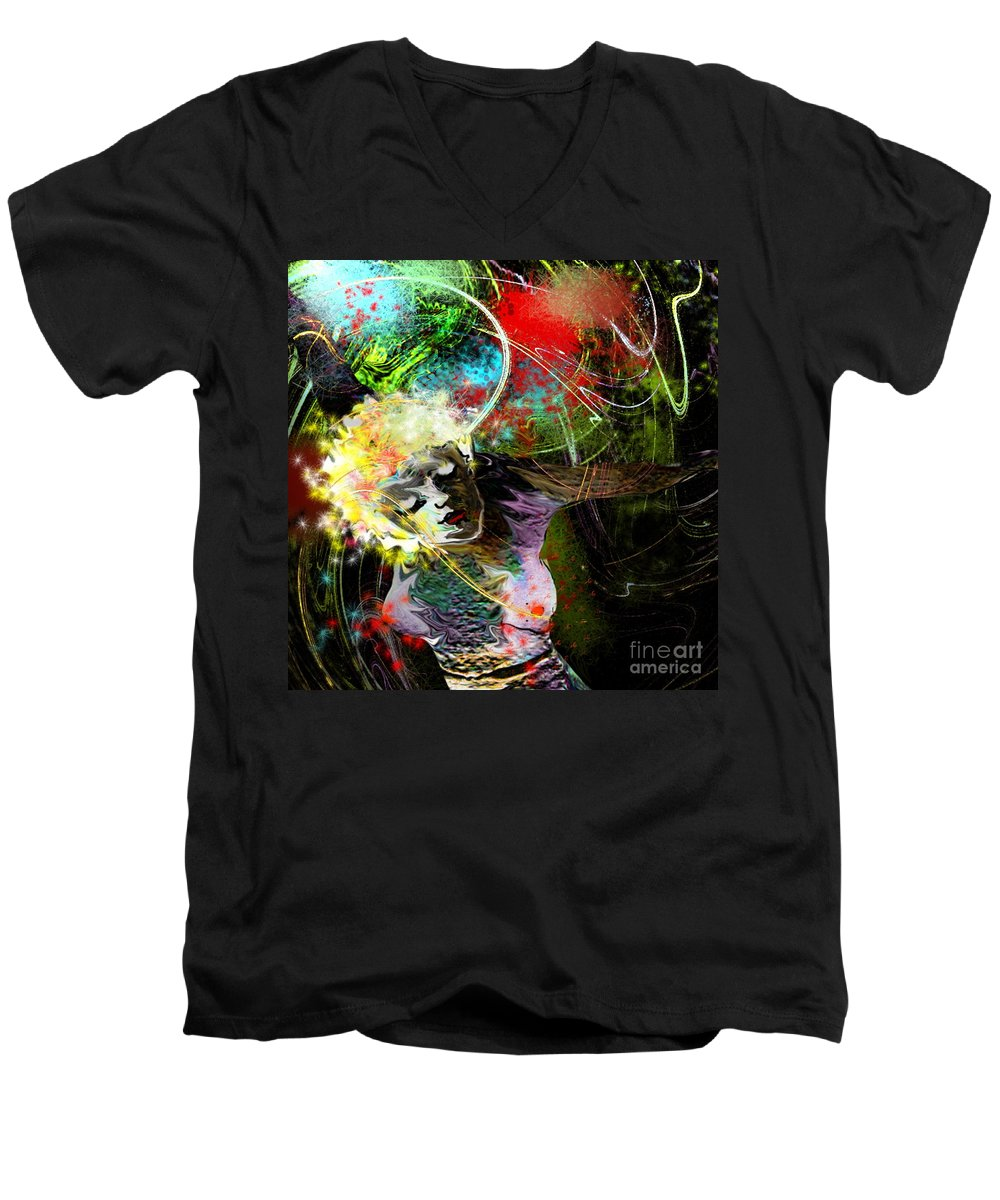 Fantasy Men's V-Neck T-Shirt featuring the painting Bride Of Halos by Miki De Goodaboom