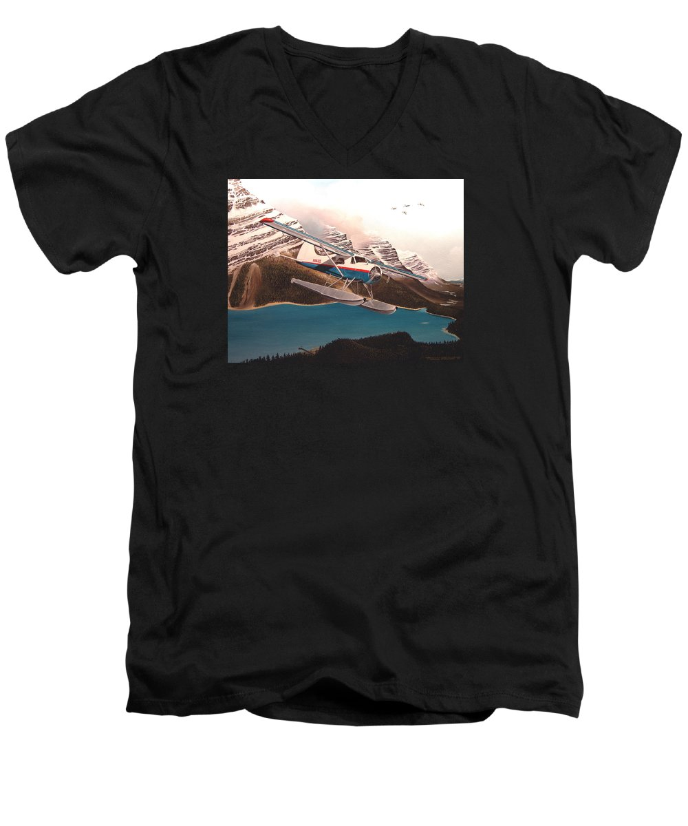 Aviation Men's V-Neck T-Shirt featuring the painting Bringing Home The Groceries by Marc Stewart
