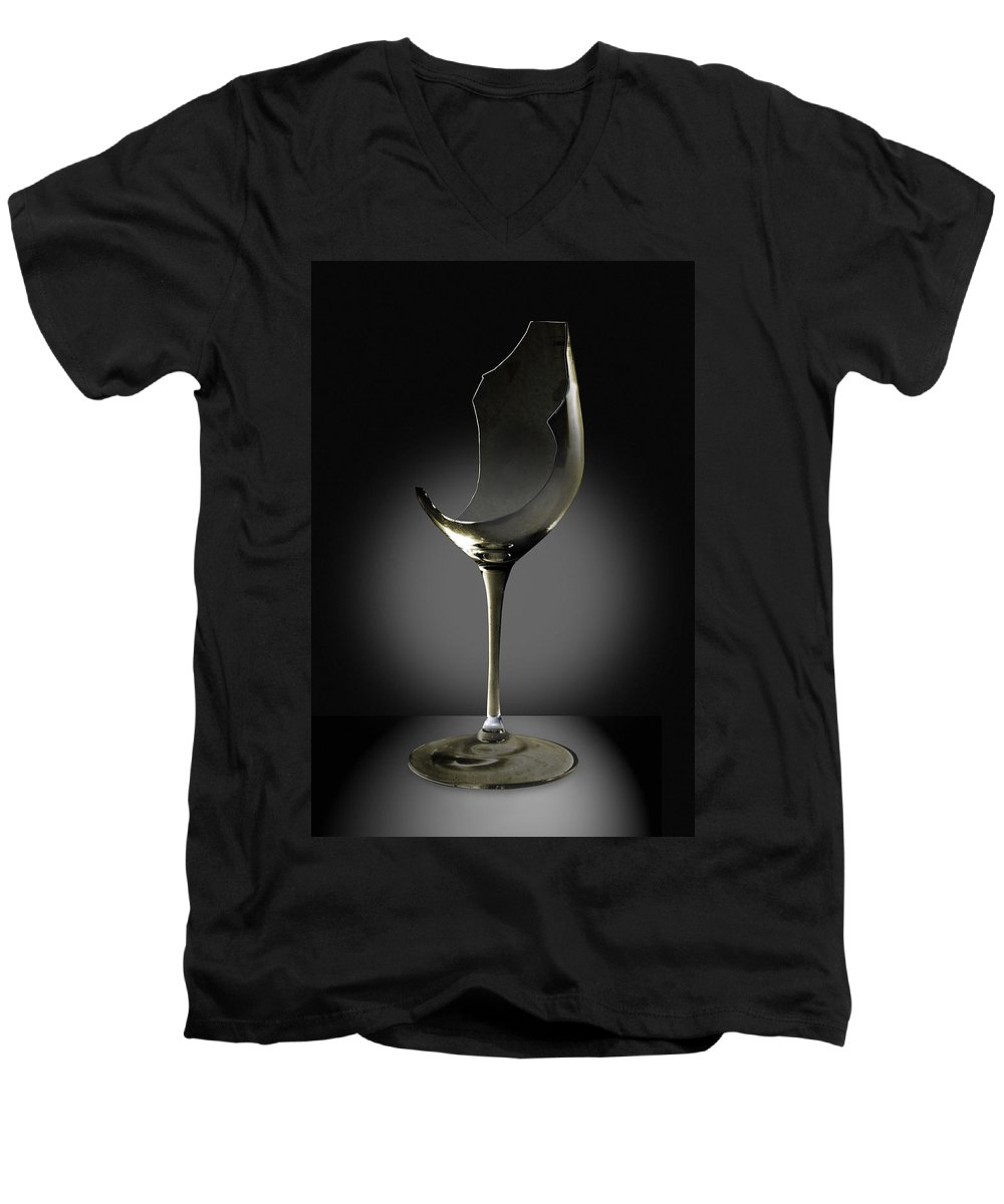 Glassware Men's V-Neck T-Shirt featuring the photograph Broken Wine Glass by Yuri Lev