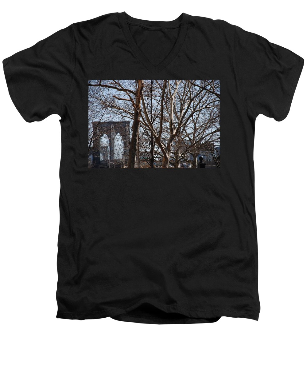 Architecture Men's V-Neck T-Shirt featuring the photograph Brooklyn Bridge Thru The Trees by Rob Hans