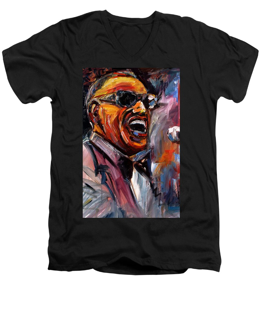 Jazz Art Men's V-Neck T-Shirt featuring the painting Brother Ray by Debra Hurd