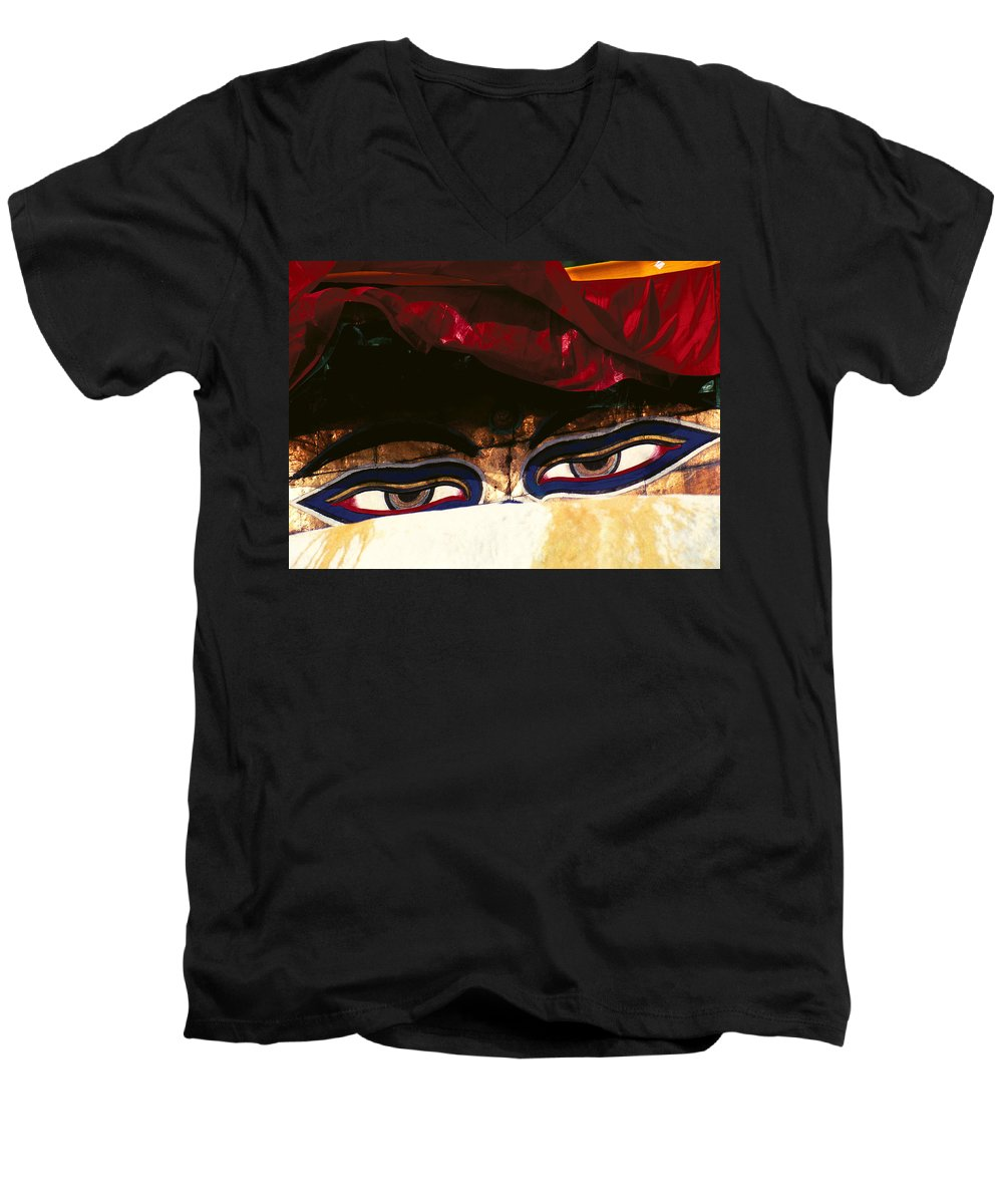 Eyes Men's V-Neck T-Shirt featuring the photograph Buddha Eyes by Patrick Klauss