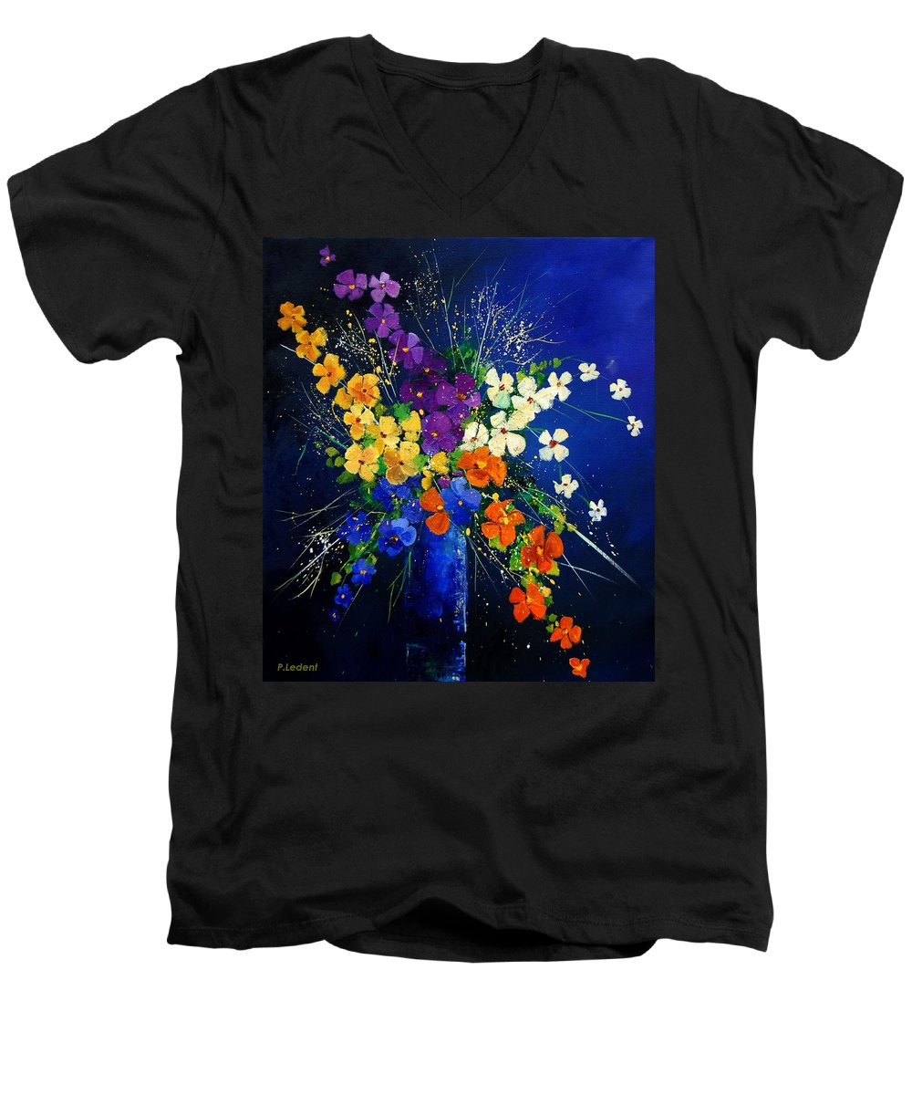 Poppies Men's V-Neck T-Shirt featuring the print Bunch 0408 by Pol Ledent