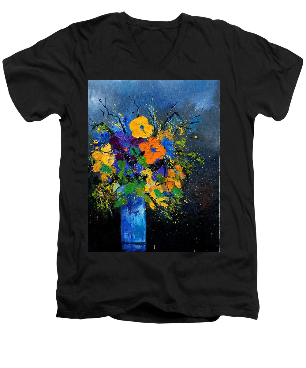 Poppies Men's V-Neck T-Shirt featuring the painting Bunch 1007 by Pol Ledent