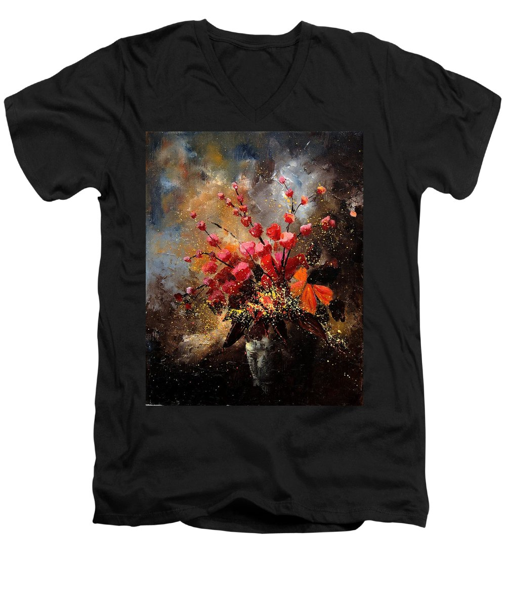Poppies Men's V-Neck T-Shirt featuring the painting Bunch 1207 by Pol Ledent