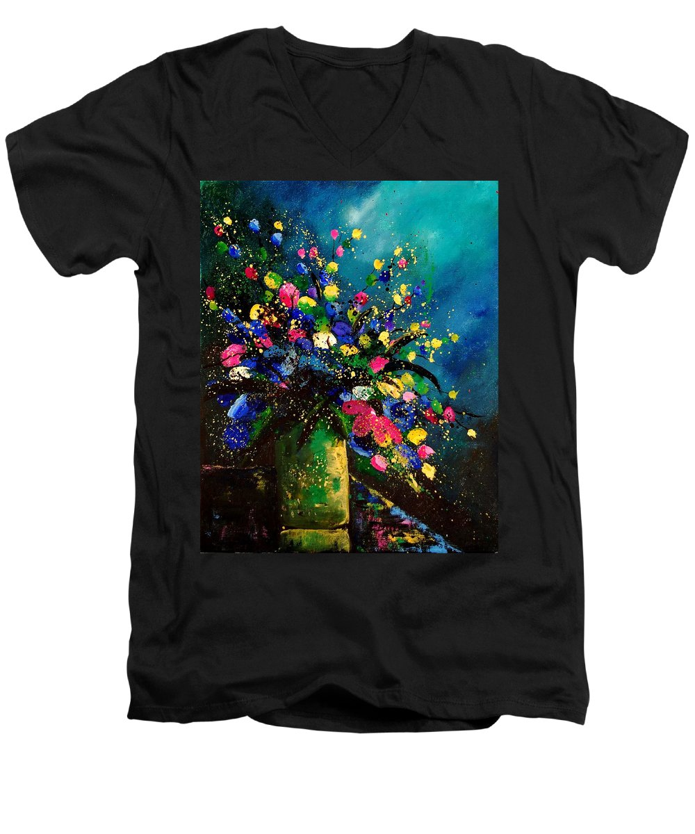 Poppies Men's V-Neck T-Shirt featuring the painting Bunch 45 by Pol Ledent