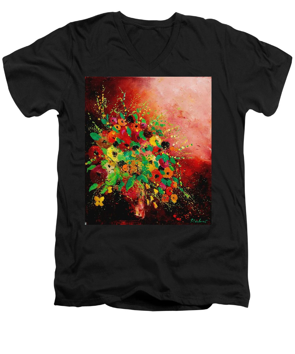 Flowers Men's V-Neck T-Shirt featuring the painting Bunch Of Flowers 0507 by Pol Ledent