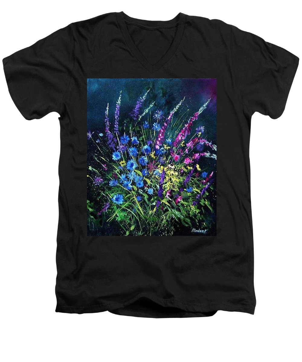 Poppies Men's V-Neck T-Shirt featuring the painting Bunch Of Wild Flowers by Pol Ledent