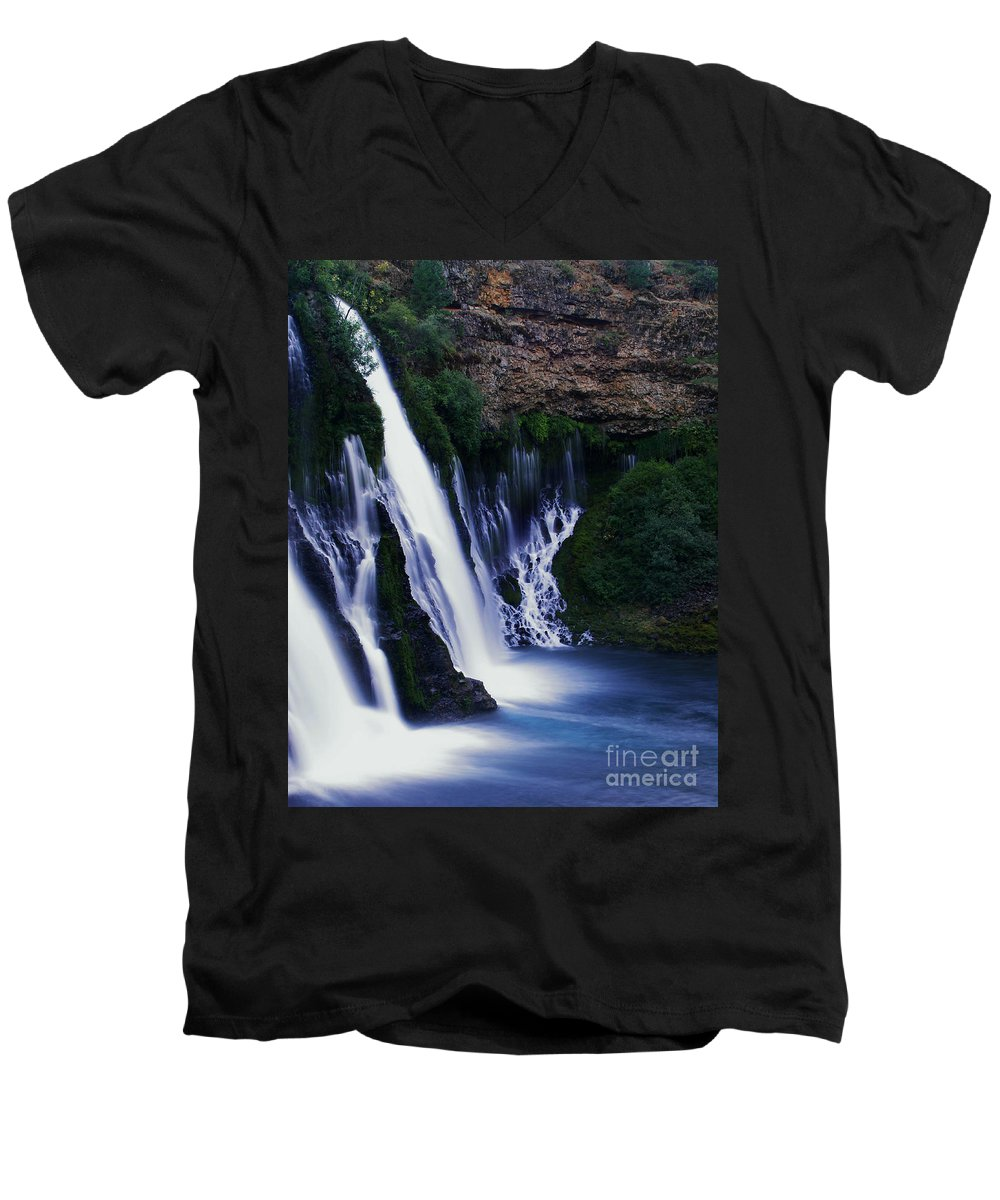 River Men's V-Neck T-Shirt featuring the photograph Burney Blues by Peter Piatt