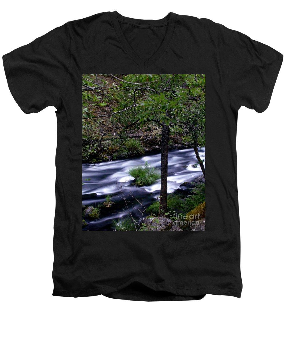 River Men's V-Neck T-Shirt featuring the photograph Burney Creek by Peter Piatt