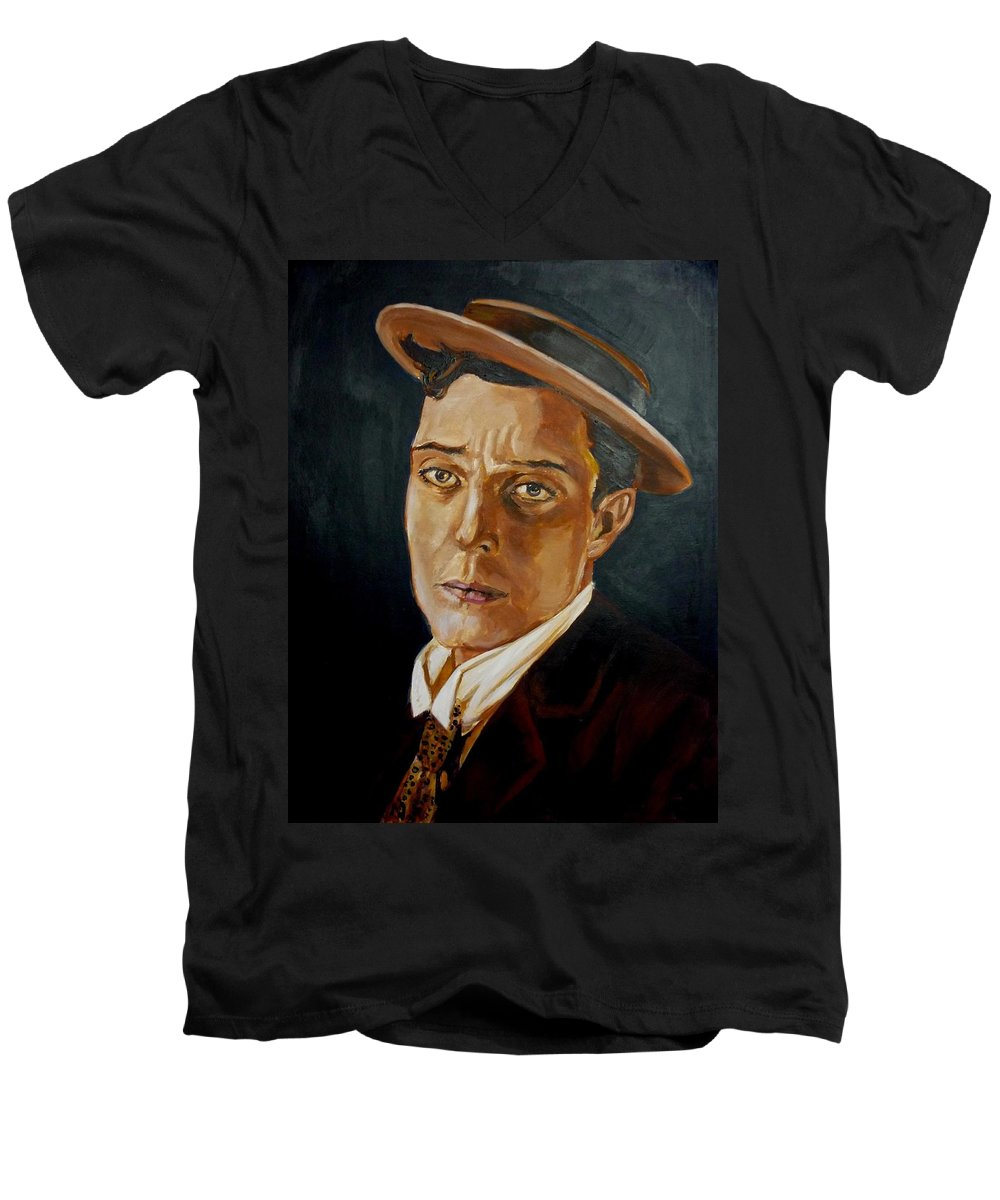 Comedy Men's V-Neck T-Shirt featuring the painting Buster Keaton Tribute by Bryan Bustard
