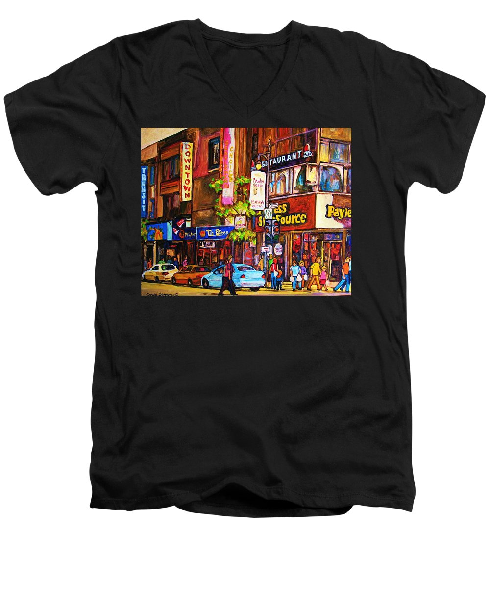 Cityscape Men's V-Neck T-Shirt featuring the painting Busy Downtown Street by Carole Spandau
