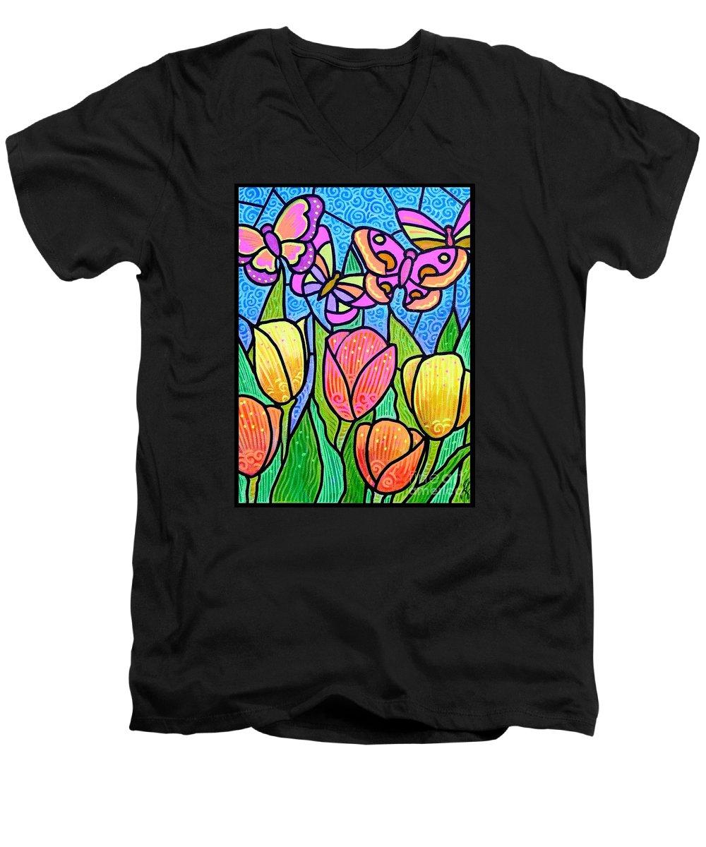 Butterflies Men's V-Neck T-Shirt featuring the painting Butterflies In The Tulip Garden by Jim Harris