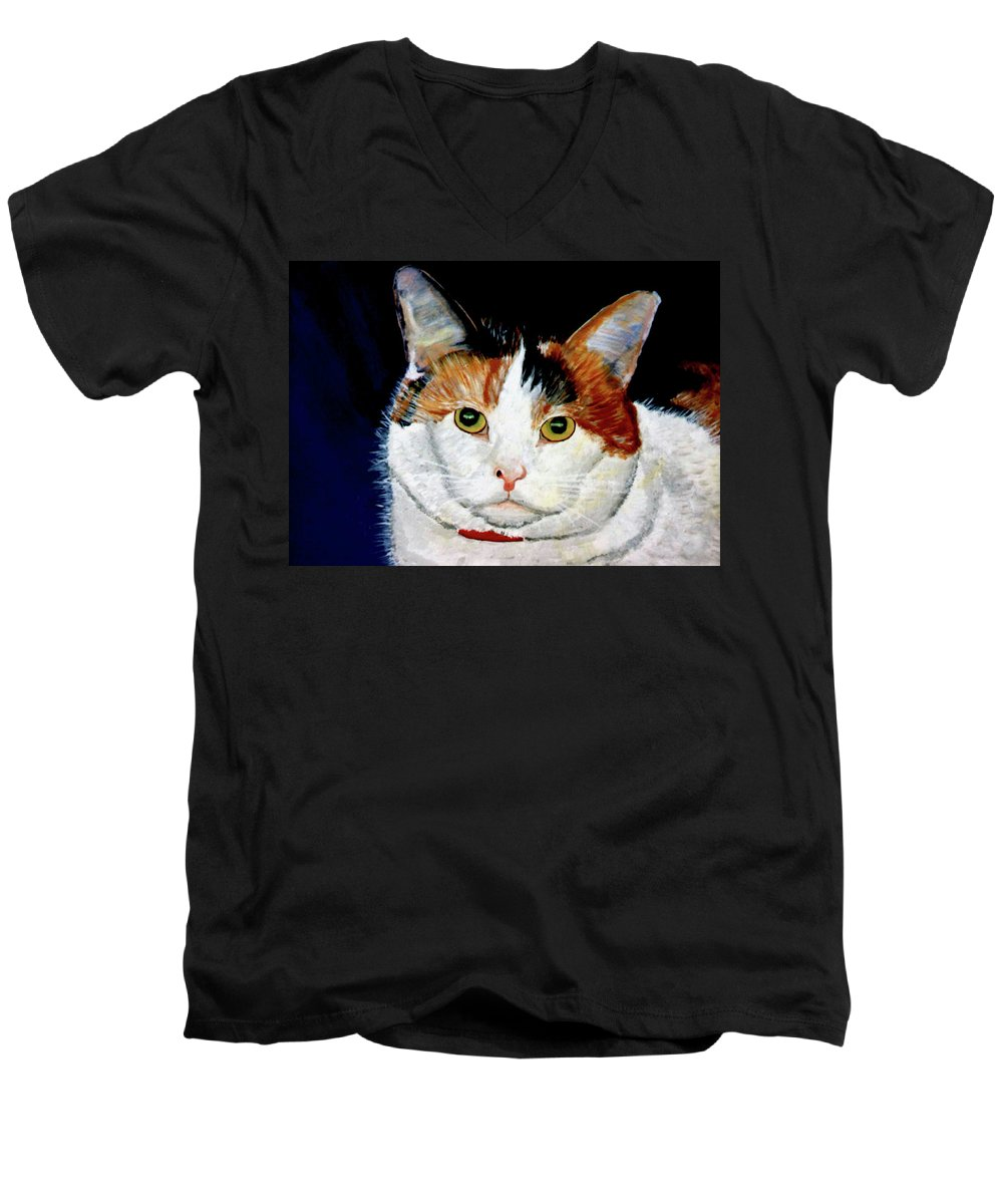 Cat Men's V-Neck T-Shirt featuring the painting Buttons by Stan Hamilton