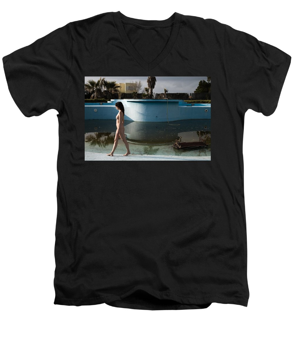 Nudes Men's V-Neck T-Shirt featuring the photograph By The Old Pool by Olivier De Rycke