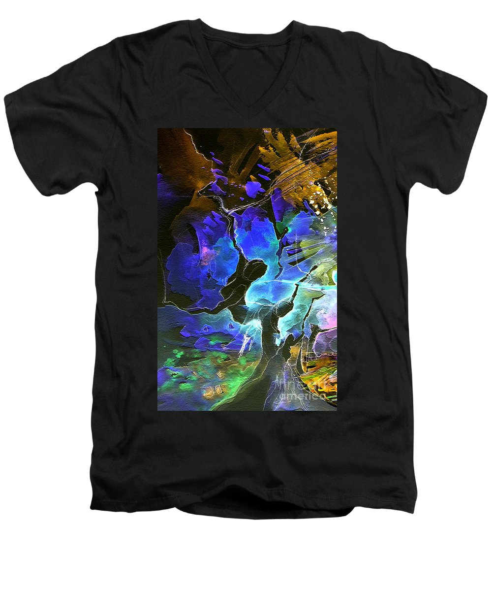 Miki Men's V-Neck T-Shirt featuring the painting Bye by Miki De Goodaboom