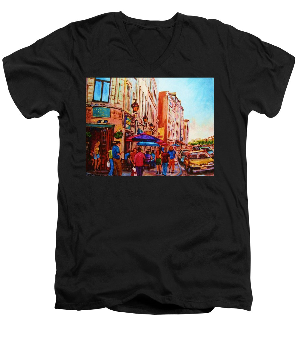Montreal Men's V-Neck T-Shirt featuring the painting Cafe Creme by Carole Spandau